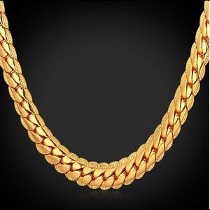 18K Gold Plated 6mm Wide Snake Chain Link Necklace